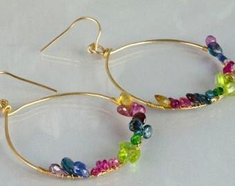 Multicolor Gemstone Gold fill Hoops Sapphires Peridot Citrine Amethyst Kyanites Rubies Blue Topaz Garnets