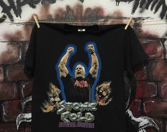 Vintage 90s Original Wwf Merchandise Stone Cold Steve Austin Tshirt