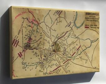 Canvas 24x36; Map Battle Of Chancellorsville Stonewall Jackson