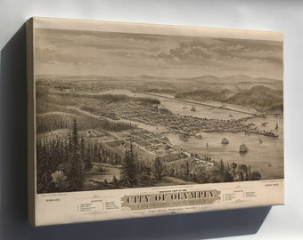Canvas 24x36; Bird'S Eye View Map Of The City Of Olympia, East Olympia And Tumwater, Puget Sound, Washington Territory, 1879