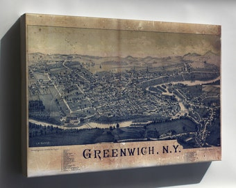 Canvas 24x36; Map Of Greenwich, New York 1885