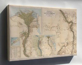 Canvas 24x36; Tourists Map Of Egypt And The Lower Nile 1897