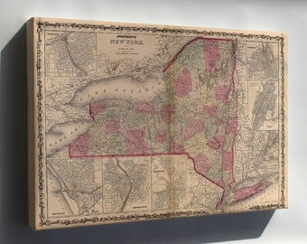 Canvas 24x36; Map Of New York State 1862