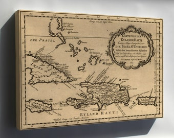 Canvas 16x24; Map Of Haiti & Dominican Republic 1754 In German