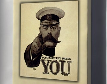Canvas 16x24; Lord Kitchener Poster, For British Army Recruiting During World War I (1914)