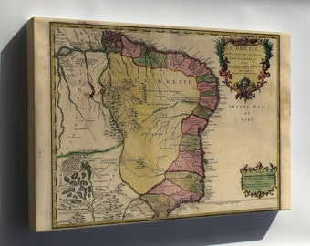 Canvas 16x24; Map Of Brazil 1719