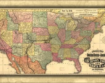 16x24 Poster; Map Of Atchison Topeka & Santa Fe Railroad 1888