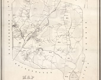 16x24 Poster; Map Of East Bridgewater, Massachusetts 1848