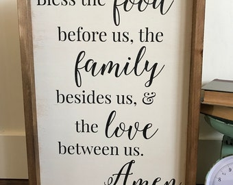 Bless The Food Sign - Bless The Foor Before Us - Kitchen Decor - Dining Room Decor - Kitchen Sign - Dining Room Sign