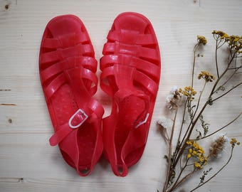 Vintage 90s Jelly Shoes Pink Plastic Sandals Size 6 39 Grunge Pink Jelly Shoes Summer Sandals Festival Fashion Fisherman Sandals