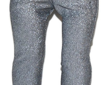"Silver/Black Sparkle Denim Skinny Jeans - Doll Clothes fits 18"" American Girl Dolls"