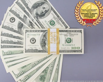 Prop Money Series 2000s 100 Dollars Full Print Stack for Movie, TV, Video, Novelty and Photography