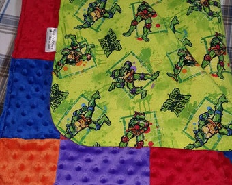 Ready To Ship TMNT baby blanket, turtle infant blanket, ninja turtles baby blanket, multicolored baby blanket