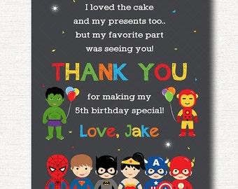 Superheroes Thank you card, Superhero Thank you note, Superheroes Birthday, Superheroes party, printable