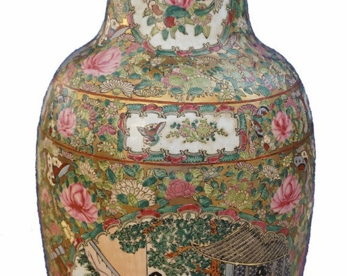 Rose Medallion Vase - 1800s