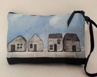 Hand Painted Wristlet Pouch or Purse Free Shipping