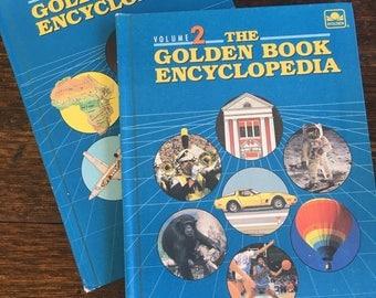 1988 Golden Book Encyclopedia Volume 1&2 / Children Educational Hardcover / vintage