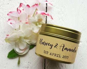 Personalised wedding candle - Mr and Mrs candle - Handmade Natural wax candle- scented - wedding gift - wedding date candle- personalised