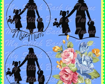 Digital stamp colouring image - Mothers day shadow image. jpeg / png
