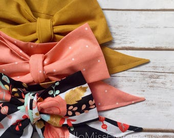 Gorgeous Wrap Trio (3 Gorgeous Wraps)- Golden, Peach Sugar & Fancy Floral Gorgeous Wraps; headwraps; fabric head wraps; headbands