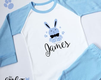 Personalised Blue Long Sleeved Bunny Easter Pyjamas (ANY NAME)