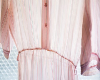 Vintage Sheer Light Pink Pinstripe Dress with 3/4 length sleeves, button front and mandarin collar