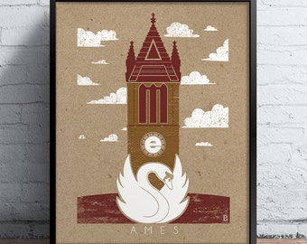 Ames Icons Screen Printed Poster