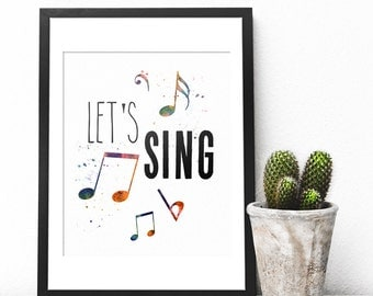 Lets Sing, Teen Room Decor, Room Decor For Teen Girls, Teen Girl Gifts, Teen Gift, Girl Gifts, Wall Art Set, Wall Art Printable, Digital Art