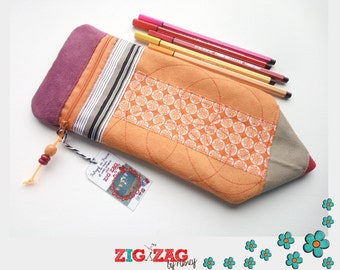 Pencil case zipper Pencil Pouch (Orange / 30 x 12 cm)