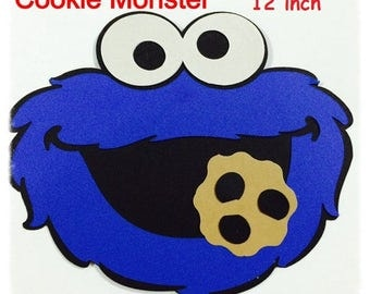 Cut Die Cardstock Cookie Monster 12 inch set of 3-party supplies - birthday party decor - sesame street party faces