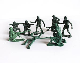 Set of 9 vintage plastic soldiers. Toy Soldiers, Classic Childhood Nostalgia