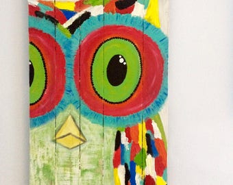 Abstract Owl Pallet Painting