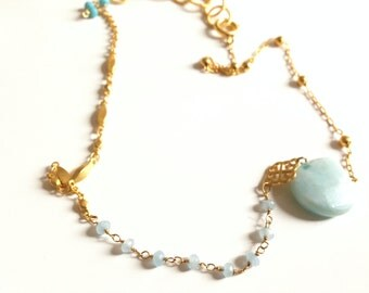 PRECIOUS NECKLACE Amazonite, Turquoises and semi precious stones on brass chains gilded with fine gold