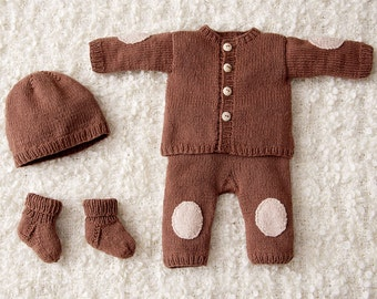 Hand knitted baby set jacket+pants+hat+socks in caramel. Cashmere cotton. 0-1.5 / 1.5-6 / 6-12 months. For Newborns.gift. Made to order.