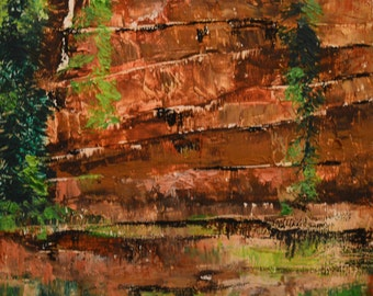 Crevice: Beeswax, dry pigments oil painting on a gallery style wooden panel ready for display