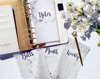 Carrara Marble Vellum Planner Dashboards For Personal & A5 Ringbound Planners R114