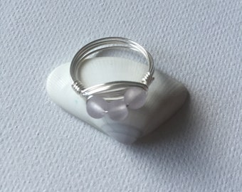 Light Periwinkle Triple Sea Glass Silver Wire Wrapped Ring