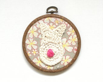 Cream Bunny Rabbit Embroidery Hoop Wall Hanging Nursery Decoration Crochet READY TO SHIP