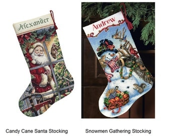 Dimensions Gold Counted Cross Stitch Kit - Candy Cane Santa Stocking; Snowmen Gathering Stock