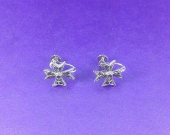 Vintage Marcasite Earrings, Maltese Cross Earrings, Screw Back Earrings, Circa 1940 Earrings, Vintage Gift