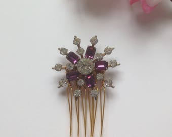 Vintage Austrian Crystal Hair Comb, Purple Baguette Hair Comb, Vintage Wedding, Mother of the Bride