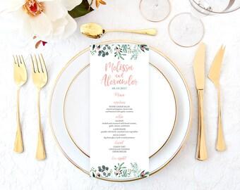 Garden Wedding Menu, Romantic Wedding Menu, Rustic Wedding Menu, Printable Wedding Menu, Wreath Wedding Menu, Bridal Shower Menu GRDWS