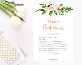 Baby Prediction Card, Baby Girl Shower Game, Peach Baby Shower Game, Floral Baby Shower, Rustic Baby Shower, INSTANT DOWNLOAD