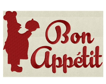 "Chef Kitchen Quote ""Bon Appetit"" - Embroidery DESIGN FILE Instant download - Hus Dst Exp Jef Pes Vp3 formats 2 sizes"