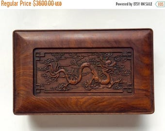 1800s Qing Dynasty Vietnam Nuyen Dynasty tribute 清代越南贡品黄花梨龙纹砚盒 Vietnamese Huanghuali box of ink slab