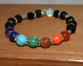 """Chakra Bracelet, Chakra colors, Beaded bracelet, Gift for her, Om charm, Gift under 20, Boho Bracelet, Handmade Bracelet, OOAK, 7"""""""