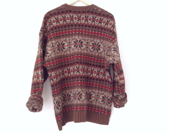 Abercrombie & Fitch company 90s Oversized 100% wool sweater. Made in Hongkong. Large wool printed sweater. Size large