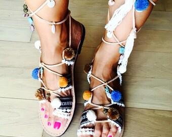 "Tie up leather sandals, ""Daphne"" , greek leather sandals, pompom sandals, boho sandals, tie up gladiators, tassel sandals, ethnic sandals"