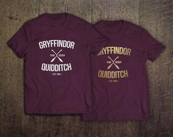 Gryffindor Quidditch Soft Adult Unisex Tee Shirt - NEW GOLD INK