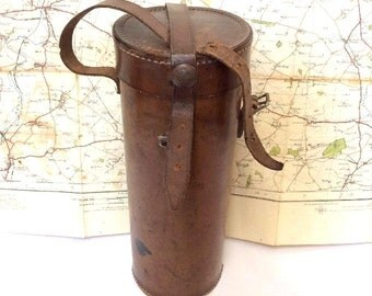 Old Vintage Thick Leather Tube Map Case,maps,flask,telescope case holder. 10 inches.